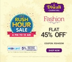 Firstcry Rush Hour Sale(6PM to 12AM): Flat 45% Off on Fashion +5%Instant Discount by SBI Cards