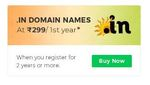 Get .In domain name for 299/1st Year*