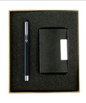 Parker Vector Chrome Trim Black Roller Ball Pen with Free Card Holder (Black)