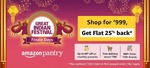 Last Day - Get flat 25% cashback on your first order on Pantry worth ₹ 999