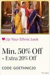 Min 50% off on men kurtas + extra 20% off on [use code:  GOETHINC20]