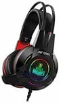 Ant Esports H550W 7.1USB Surround Sound Gaming Headset with Noise Cancelling Mic & RGB Light, Compatible with PC/Laptop, World of Warship License Product – Black