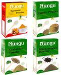 Nungu Black Pepper Powder 100g Coriander Powder 100g Turmeric Powder 100g Cumin Powder 100g (400g) Combo Pack Offer