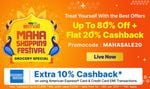 Grocery Special Offer : Upto 80% off + Flat 20% Cb  *Bank : Extra 10% CB using American Express cards