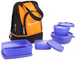 Signoraware Carry Plastic Lunch Box with Bag, 4-Pieces