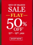 Biba End of Season sale Flat 50 - 80% Off on Clothing And Accessories (13th to 15th Jan)