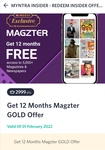 Magzter Gold 1 yr subscription for Myntra 2999 Insider Points