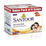 10% Coupon -  Santoor Almond Milk Soap 150g (Pack of 6) Rs166/-