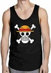 ComicSense.xyz Black Luffy Pirate Logo One Piece Anime Printed Tank Top Vest upto 60%off