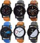 OM DESIGNER Analogue Men's Watch (Multicolored Dial Multi Colored Strap) (Pack of 6) upto 80%off