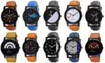 OM DESIGNER Analogue Men's Watch (Multicolored Dial Multi Colored Strap) (Pack of 10) upto 77%off