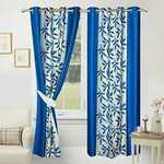 Soulful Creations Curtain, 5 Feet, Aqua, Pack of 3