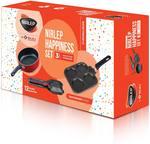 Nirlep by Bajaj Electricals 3-Piece Non-Stick Breakfast Gift Set (Multi Snack Maker 2.2 mm, Sandwich Griller 2 mm & 2 Minute Fry Pan 18 cm Diameter)