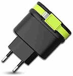 Amigo Sweex efficient Dual USB Output Wall Charger with Integrated MFI Cable | 3 Amp |(Black & Green)| 1 X Cable + 2 X USB Ports