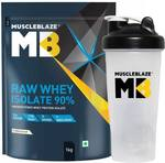 MUSCLEBLAZE Raw Whey Isolate with Shaker Whey Protein  (1 kg, Unflavoured