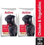 Active (Buy 1 Get 1 Free) Puppy Chicken and Vegetables Vegetable 6 kg (2x3 kg) Dry Young Dog Food