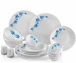 Cello Blue Swirl Opalware Dinner Set, 23-Pieces, White