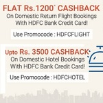 Rs 1000 off or Rs 1200(app) @ makemytrip using Hdfc credit card