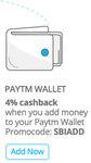 get 4% cashback on addding money in paytm wallet for SBI card holders