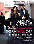 Extra 20% off (Use Coupon Code : *EXTRA20*) + Upto Rs.500 off on their first UBER ride