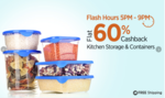 Flash Sale Kitchen Storage & Container Flat 60% Cashback .. only 5 to 9 PM