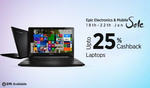 Flat 20% cashback on laptops