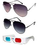 Hrinkar Aviator Sunglasses Black Frame Dark Pink Lens with Aviator Black Frame Gray Lens and 3D Glass - Pack of 3@479 mrp1599