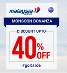 Goibibo: Malaysia Airlines Sale  - Get up to 40% Off on Int'l Flights | Valid till 20th June 2016