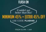 Jabong 45% + 45% off