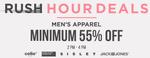 Minimum 55% off on Mens Apparels