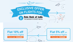 Flat Rs 750 off on a minimum booking of Rs 5,000 on Domestic Flights with SBI Card