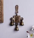 Handecor Brown Brass Swastika Hanging Bell Showpiece