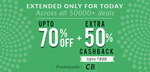 Upto 70% off + Extra 50% cashback (today) valid on all deals