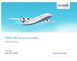 Air Costa : Flat Rs.888 off on every Domestic Ticket