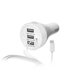 Portronics 3 Port Car Mobile Charger with 1 m Cable, Adaptive, Fast Charging