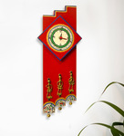 Exclusivelane Red Recycled Wood 6.7 x 15.7 Inch Clock