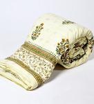 Little India Off White Nature & Florals Cotton Single Size Quilt 1 Pc