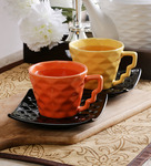 Unravel India Diamond Multicolour Ceramic 200 ML Cup and Saucer - Set Of 6