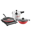 Pigeon Sterling 5 Pc Induction Based Kitchen Combo ( Induction Cooktop + 3 Ltr Pressure Cooker + Kadhai)