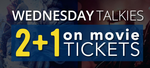 Wednesday Talkies 2+1 on Movie Tickets - Get 100% cashback* on 3rd ticket. (Max cashback Rs.150)