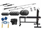 Protoner Home Gym 52 Kg + Incline/ Decline Bench With Fitness Accessories