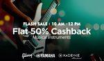 Flat 50% cashback on Musical Instruments