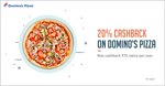 Get 20% cashback when you pay with Freecharge on Domino's Pizza
