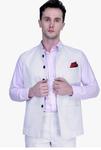 Shaftesbury London White Printed Waistcoat