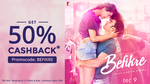 50% cashback upto 200 on Befikre Movie tickets