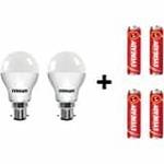 Eveready 7-Watt LED Bulb Pack of 2 + Free 4pc AA Alkaline Batteries Rs. 189
