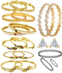 Jewels Galaxy Combo Of American Diamond & Gold Plated Bangles With Choker Combo and Solitaire