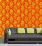 Me Sleep Orange PVC Abstract Print Wallpaper - Pepperfry.com