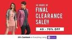 Myntra 48 Hours of Final Clearance Sale : 40-70% Off + 25% Phonepay Cashback