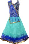 Sky Heights Girls Lehenga Choli Ethnic Wear Embroidered Lehenga Choli  (Blue, Pack of 1) - Flipkart.com